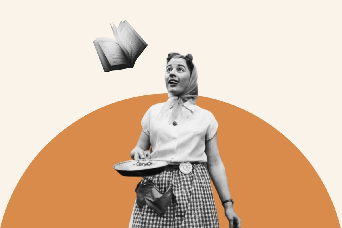 Black and white photo of a woman flipping a book as if it were a pancake